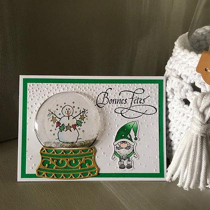 Carte boule à neige à secouer ''Bonnes Fêtes'' avec lutin dans les tons verts