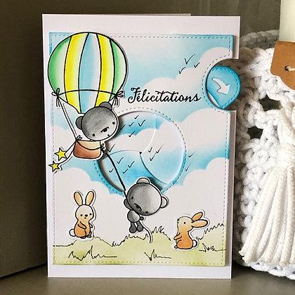 Carte à diaphane ''Félicitations / Coucou bébé''