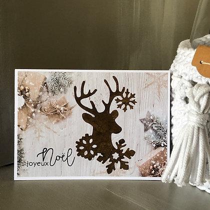 Carte ''Joyeux Noël'' avec un cerf