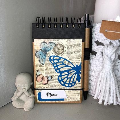 Carnet de notes ''Merci '' avec des papillons