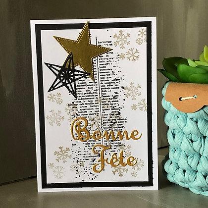 Carte ''Bonne Fête'' avec étoile et texte doréé