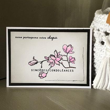 Carte ''Sincères condoléance'' avec fleurs de cerisier