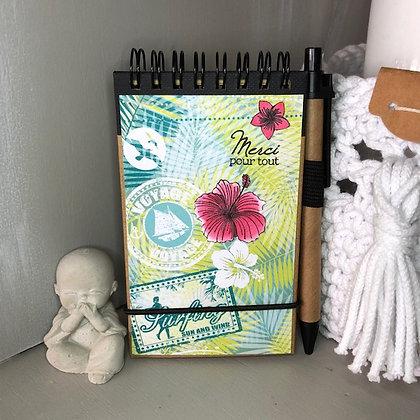 Carnet de notes ''Merci pour tout'' style Hawaï, dans les tons verts et jaunes