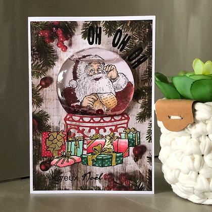 Carte boule à neige à secouer ''Joyeux Noël'' avec eau et paillettes