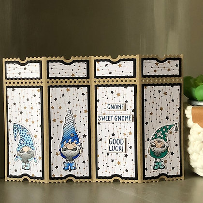 Carte style paravent ''Gnome Sweet Gnome'' avec lutins