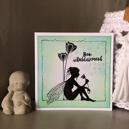 Petite carte ''Bon rétablissement'' avec petite fée