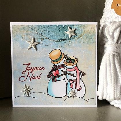 Petite carte ''Joyeux Noël'' avec bonhommes de neige