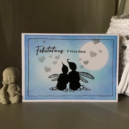 Carte ''Félicitations à vous deux'' avec petites fées