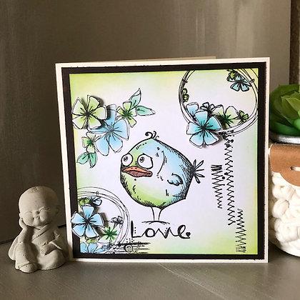 Carte ''Love'' avec oiseau dans les tons bleus-verts
