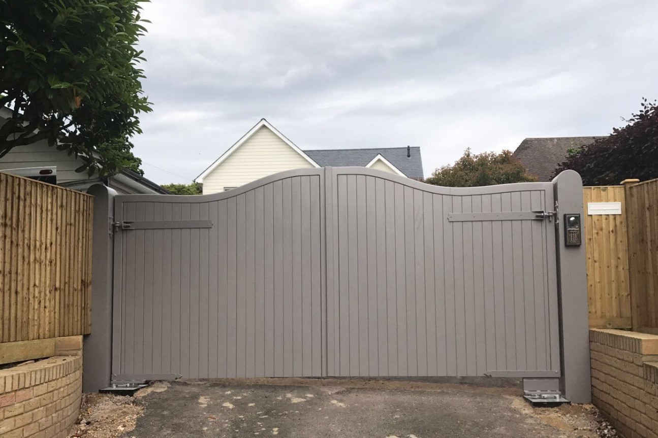 Grey powder coated electric gate