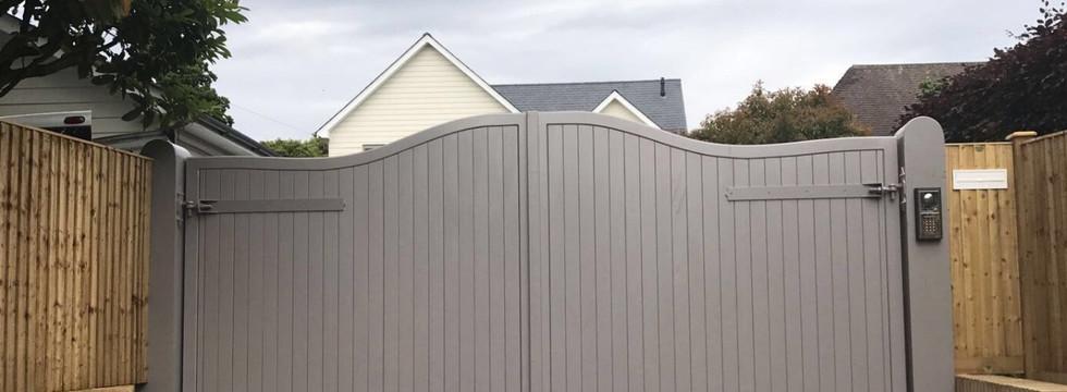 Grey powder coated electric gate