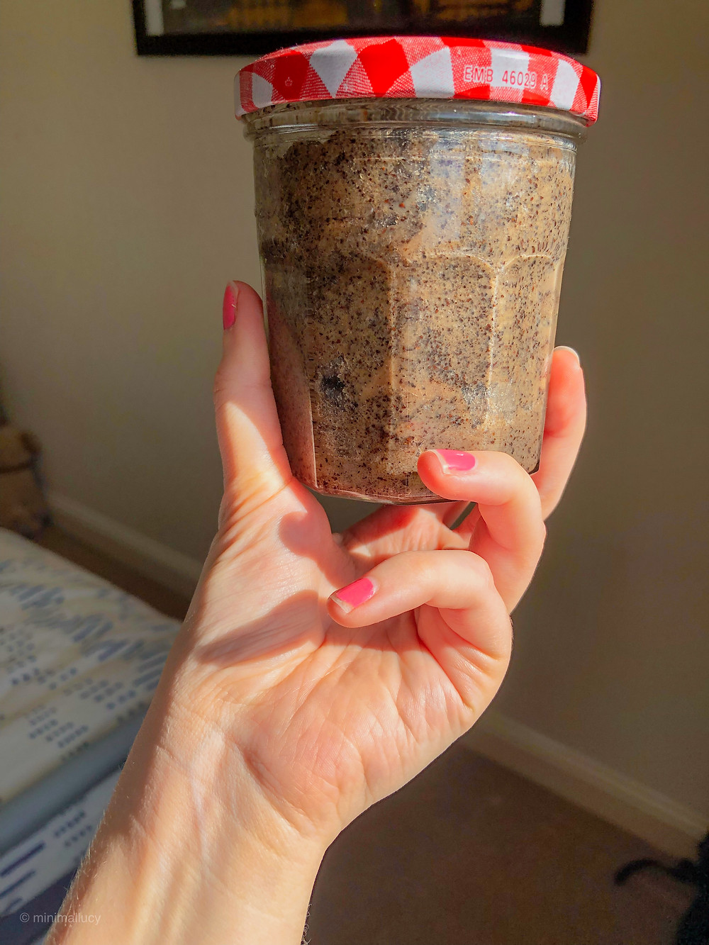 Homemade Coffee Scrub in a Repurposed Jar