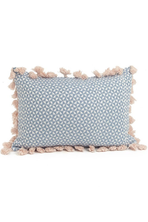 Woven Cushion with Pink Tassels