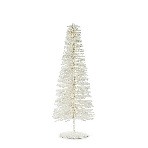 Medium White Glitter Bottle Brush Tree