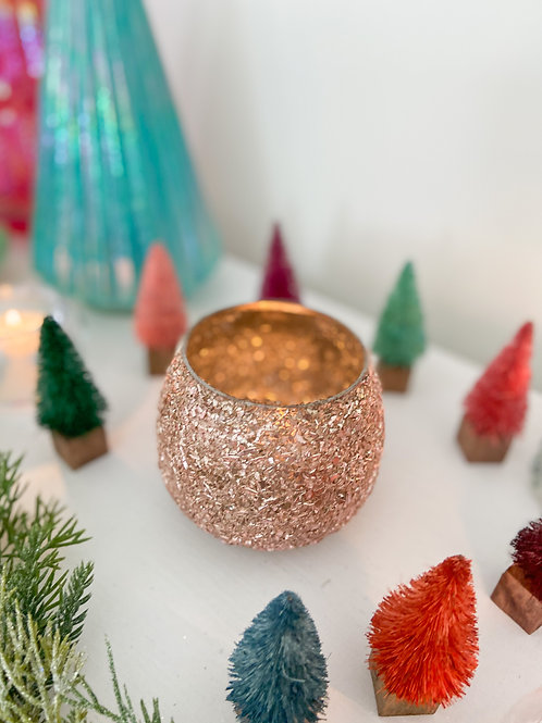 Rose Gold Sparkle Votive