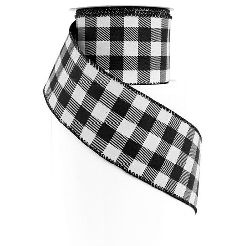 "Black and White Plaid 2.5"" Ribbon"