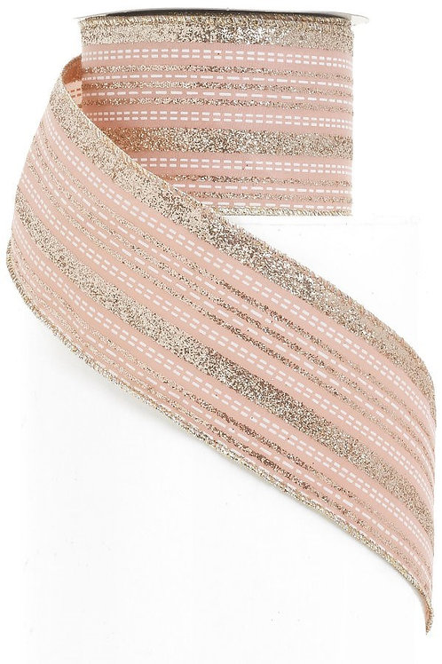 "Blush & Gold Lined 2.5"" Ribbon"