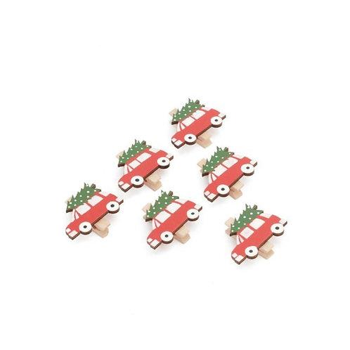Set of Vintage Christmas Car Clips