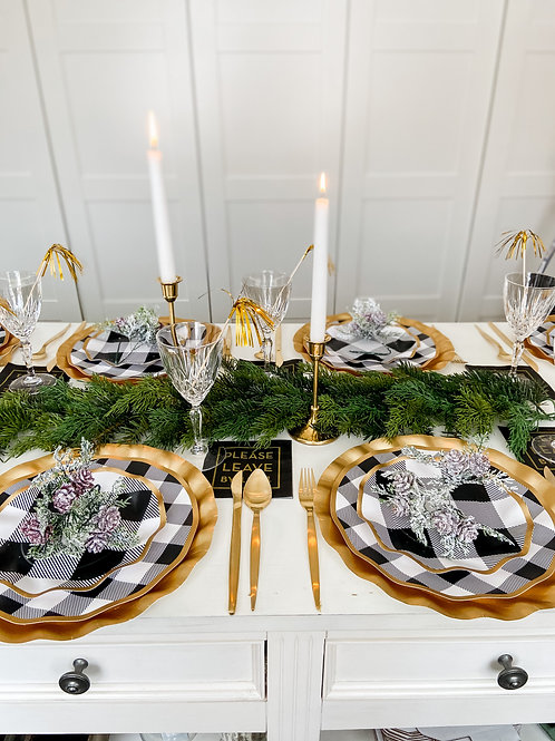 Buffalo Plaid and Gold Party To Go!