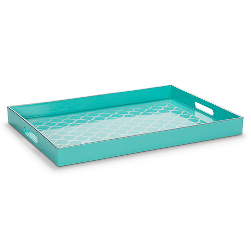 Turquoise and Silver Serving Tray
