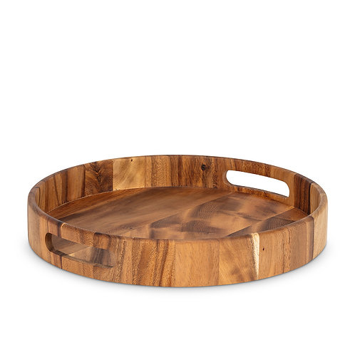Round Wooden Serving Tray with Handles