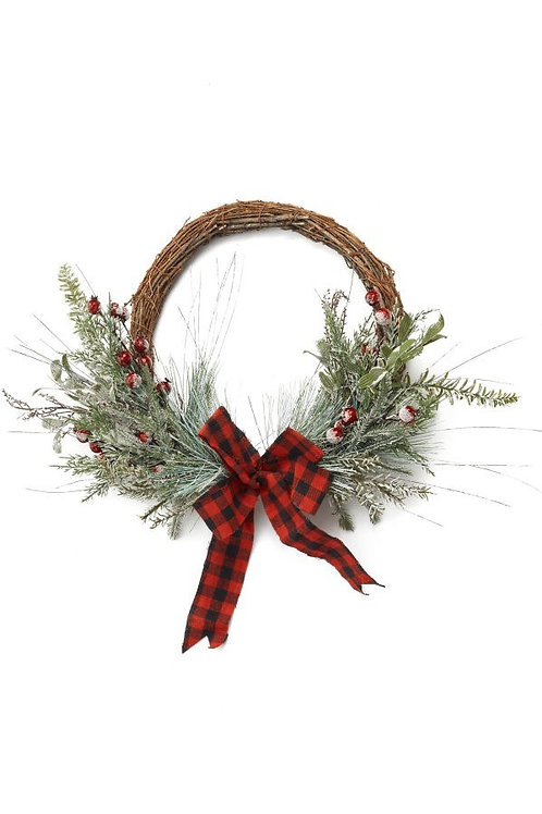 Frosted Pine Buffalo Plaid Wreath