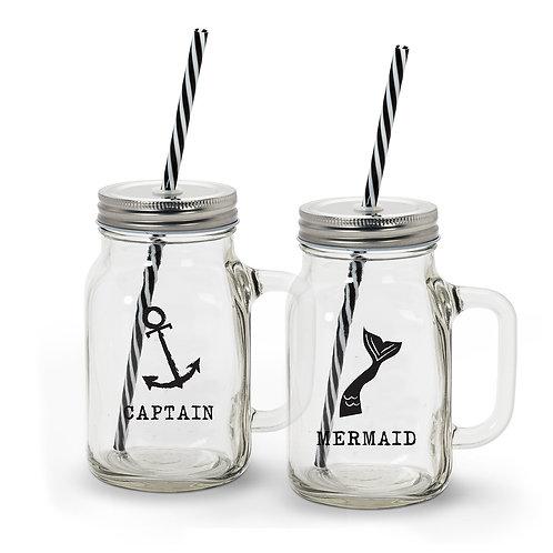 Captain/Mermaid Jar Sippers