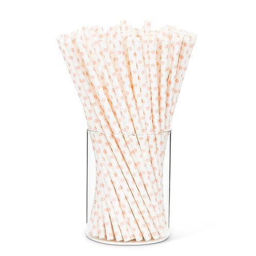 Pink Dot Paper Straw
