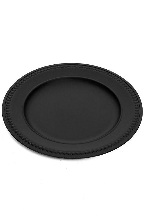 Matte Black Beaded Rim Charger Plate