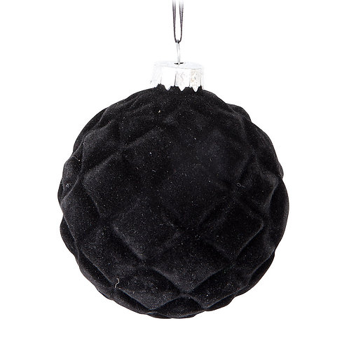 Black Quilted Ball Ornament
