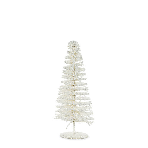 Small White Glittery Bottle Brush Tree