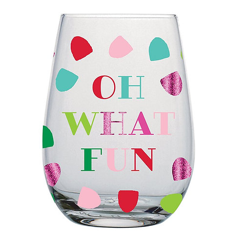 Oh What Fun Stemless Wine Glass