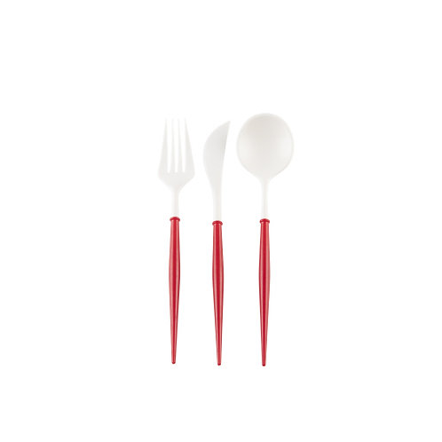 Assorted Plastic Red Cutlery (service for 8)