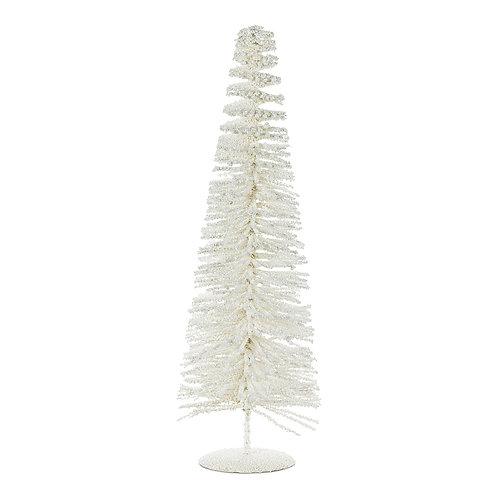 Large White Glitter Bottle Brush Tree