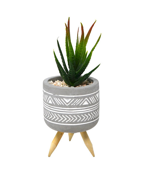 Footed Planter with faux succulent