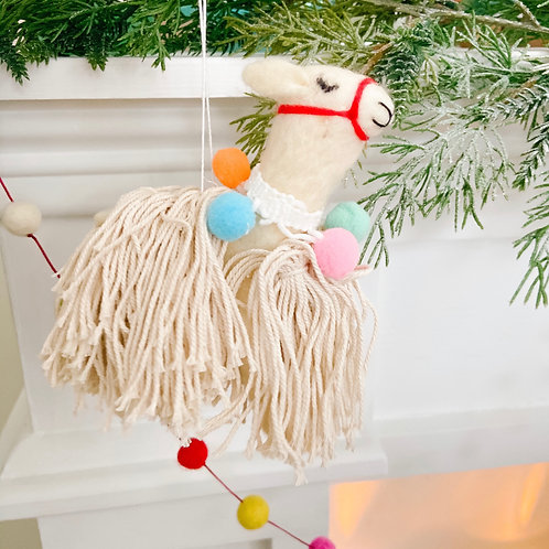 Shaggy Wool Llama Ornament