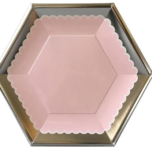 Pink Metallic Paper Dessert Plate
