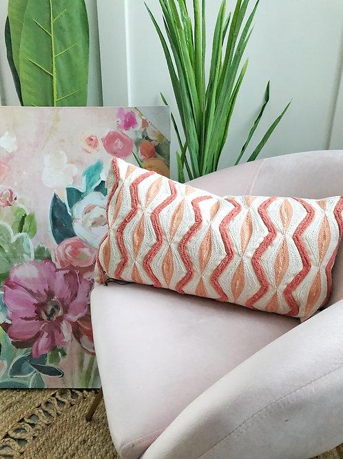 Geo Lumbar Pillow-Coral