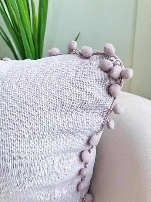 Lilac Pom Pom Pillow