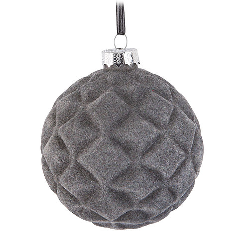 Grey Quilted Ball Ornament