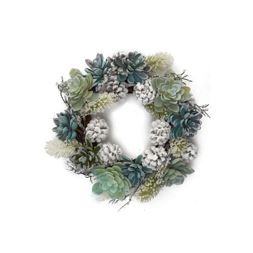 Iced Pine & Succulent Wreath