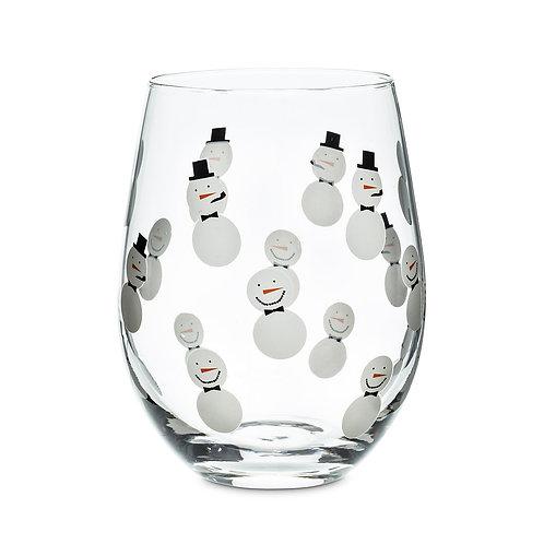 Snowmen Stemless Wine Glass
