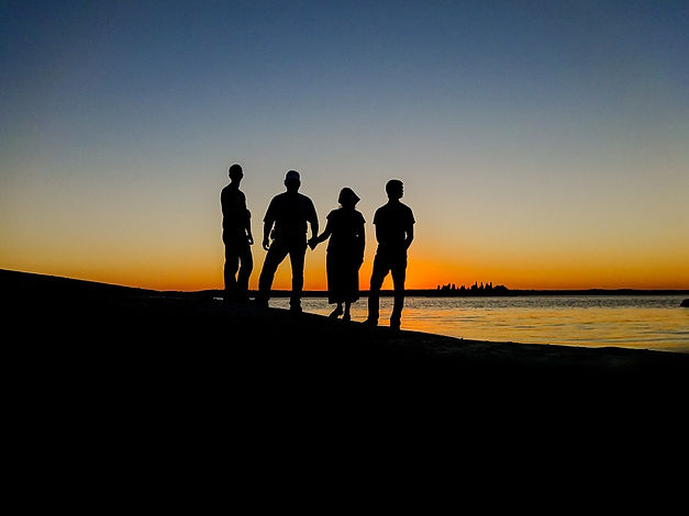 Family in a sunset