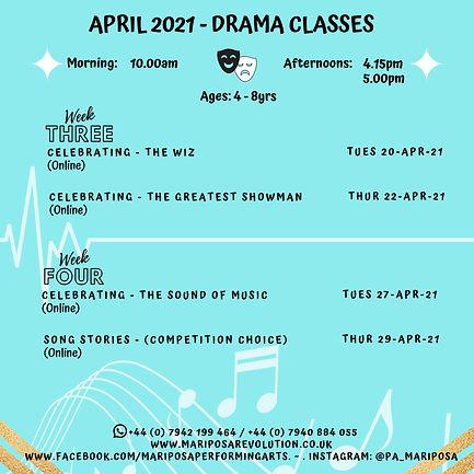 Mariposa standard Class timetable (Music