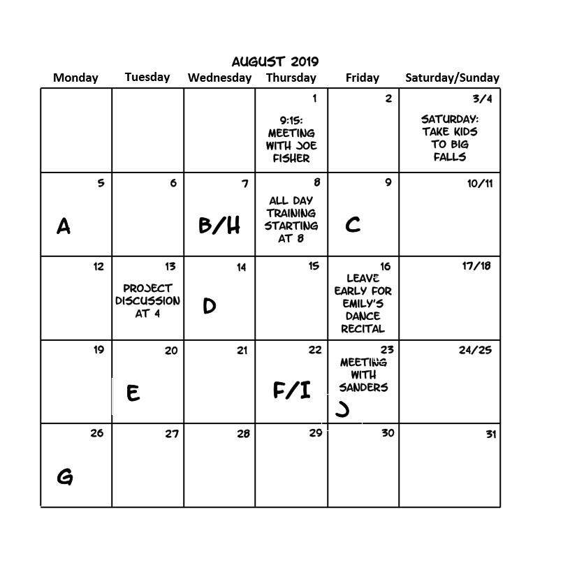 Fill out the Calendar