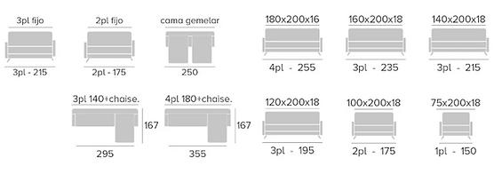 medidas sofá cama iveca