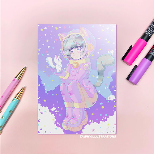 Cat Astronaut - Kawaii Anime Cat - Holographic - Cute Wall Art