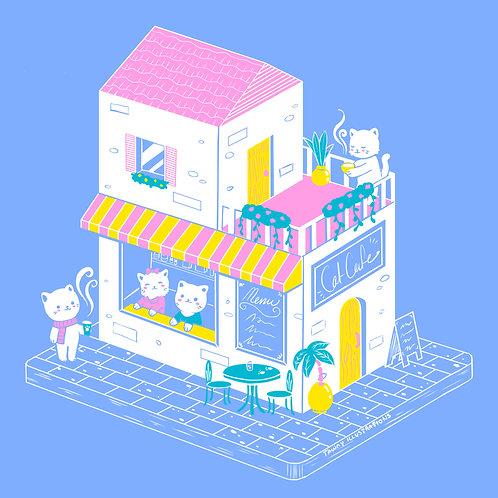 Sweet Cat Cafe Baby Blue Unisex Hoodie