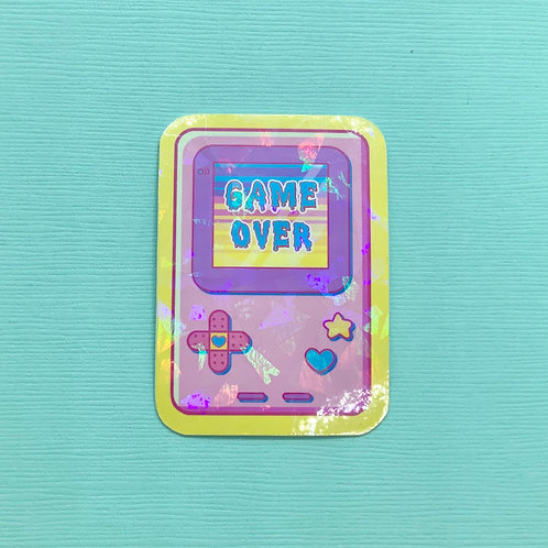 Holographic Glitter Handheld Game Boy Video Game Inspired Pastel Sticker