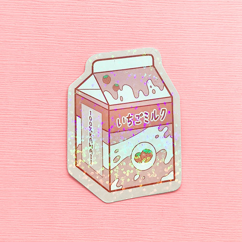 Kawaii Pastel Japanese Inspired Holographic Anime Strawberry Milk Vinyl Sticker